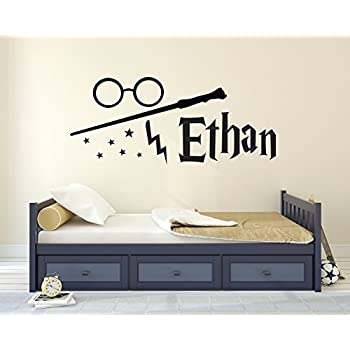 Custom Harry Potter Name Wall Decal   Harry Potter Wall Decals    Personalized Name Wand Vinyl Part 40