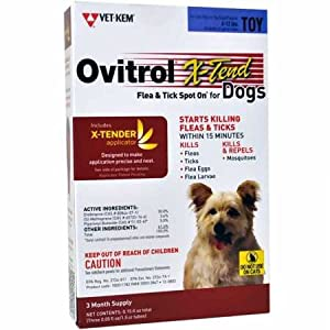 Vet-Kem Ovitrol 3-Pack X-Tend Pest Control Spot on for Dog Toy, 6 to 12-Pound 60