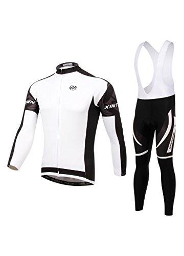 Weiß Herren Radsport Fahrrad Radtrikot lange Anzug Trikot Set Bekleidung Trägerhose L