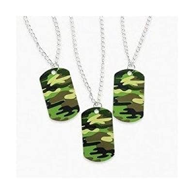 Fun Express Camouflage Dog Tag Necklaces (4 Dozen) - Bulk [Toy]: Toys & Games