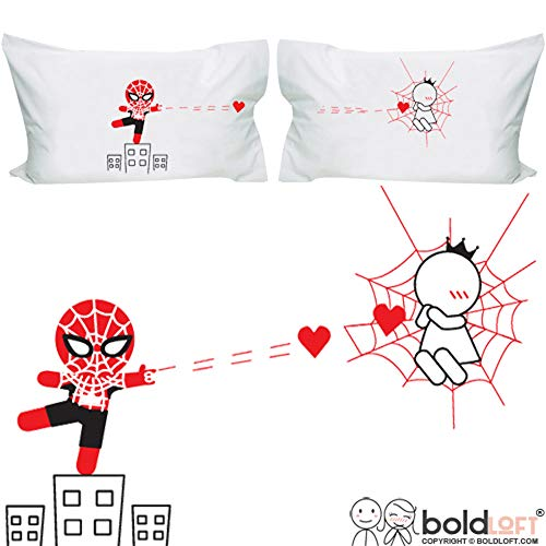 BoldLoft Captured by Your Love Couples Pillowcases-Funny Couples Gifts|Spiderman Gifts for Men|Gifts for Boyfriend Husband Anniversary Valentines Day|His and Hers Gifts for Couples|Superhero Gifts