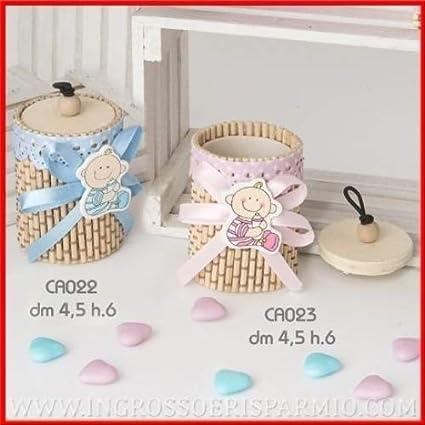 Caja redonda de bambú para caramelos, con tapa, cinta bordada enmarcando el borde superior