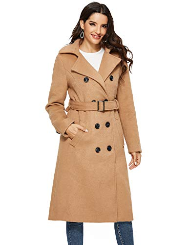 Escalier Womens Wool Coat Double Breasted Winter Long Trench Coat with Belt Camel Small