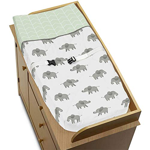 Sweet Jojo Designs Mint, Grey and White Changing Pad Cover for Watercolor Elephant Safari Collection ()