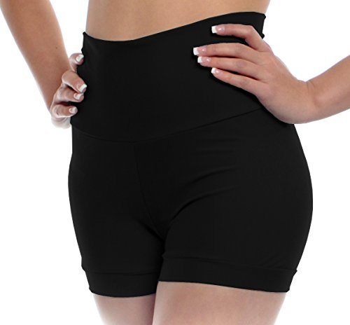 Womens High Waisted Dance Shorts Large Black Adult Sizes With Fold Over Band and Stretch By B Dancewear (Fold Over Band)