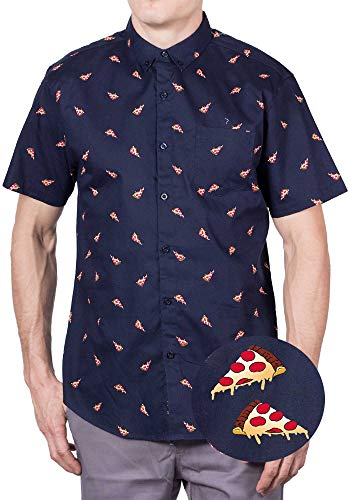 Visive Hawaiian Shirts for Mens | Pizza Short Sleeve Button Down Shirt Pizza,Medium