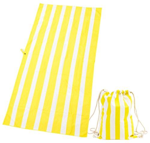 Exerz Microfibre Towel & Drawstring bag - 63 x 31.5/160 x 80 cm XXL Travel/Sports Towel Stripes Beach Blanket 2 pcs Set – Gym – Camping – Swimming – Yoga - Bath (Yellow)