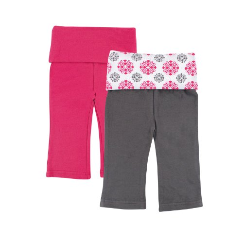 Yoga Sprout Unisex-Baby Yoga Pants, 2 Pack, Pink Medallion, 9-12 Months
