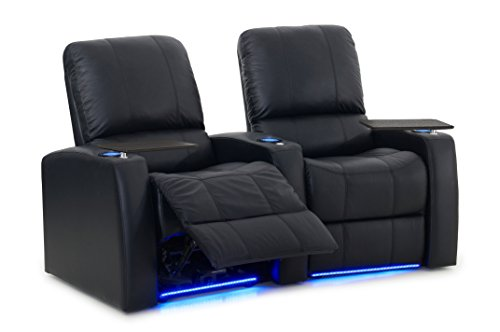Blaze XL900 Stadium Chairs - Black Top-Grain Leather - Memory Foam - USB Charger - Accessory Dock - Power Recline - Curved Row of 2 (Leather Curved 2 Seat)