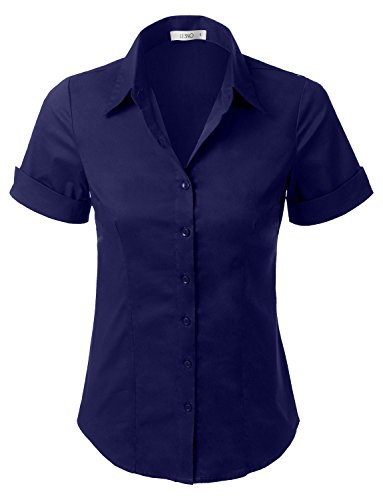 (LE3NO Womens Tailored Short Sleeve Button Down Shirt With Stretch,L3nwt575a_navy,Large )