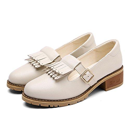 Zapatos cuero tacón de de mujer boca de la baja la Zapatos primavera de estilo borla mujer bajo de HWF de para de de mujer femeninos Zapatos de Negro Beige cuero Ta superficial Zapatos británico Color wUtFxaq