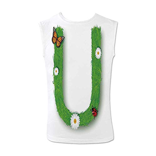 - Letter U Comfortable Tank Top,Capital U with Daisy Petals Ladybug Garden Blossoms Girls Nursery Theme Decorative for Men,L