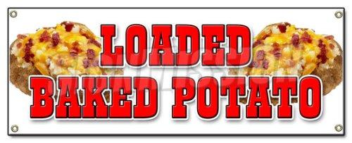 (Loaded Baked Potato Banner Sign Idaho Fresh hot Bacon Cheese Soup Topped)