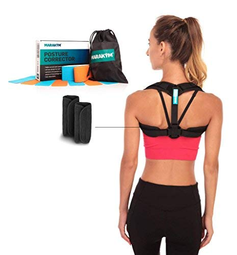 Posture Corrector - Adjustable Clavicle Brace to Comfortably Improve Bad Posture for Men and Women - Posture Corrector for Women and Men Plus Kinesiology Tape and Carry Bag Included by MARAKYM best women's posture corrector
