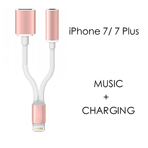 Vinpie Lightning Cable Adapter, 2 in 1 Lightning to 3.5mm Audio Charge Earphone Jack Adapter Charging USB Cable for iPhone 7/7 Plus, 6/6s, 6/6s Plus, iPad, iPod (Rose Gold)