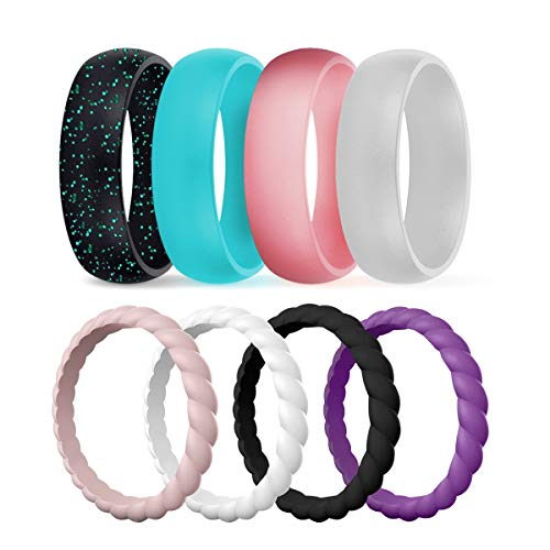 DSZ Silicone Wedding Ring for Women, Mixed Classic & Thin Rubber Band for Sports & Active Women's (Metallic Pink, Silver, Black, Turquoise, Sandpink, Turquoise, Royal Black, White, 5)