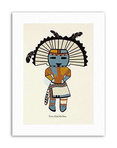 Indian Kachina (DRAWING PUEBLO INDIAN SPIRIT KACHINA SUN ZUNI PRIEST NEW Poster Drawing Canvas art Prints)