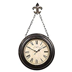 Giow Vintage Pocket Watch Inspired Wall Clock with Chain Mediterranean Style Clock Home Decor Bedroom Living Room Garden Metal Black Iron 16 Inch
