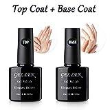 #5: Gellen Gel Nail No Wipe Top Coat Base Coat Set - Home Gel Manicure Long Lasting Super Shiny Kit, 10ml Each