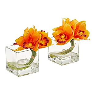 Nearly Natural 1824-S2-OR Cymbidium Orchid Artificial Glass Vase (Set of 2) Silk Arrangements, Orange 47
