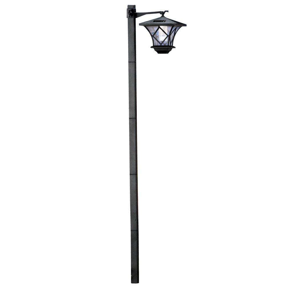 Collections Etc Solar 5 Ft Lantern Lamp Post Stake Light, Black