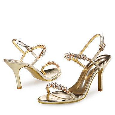 LvYuan Mujer-Tacón Stiletto-Zapatos del club-Sandalias-Boda Vestido Fiesta y Noche-Sintético Purpurina-Oro Gold