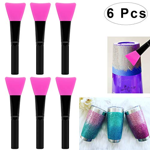Colovis 6 PCS Silicone Epoxy Brushes for Making Epoxy Glitter Tumblers, Epoxy Application Sticks, Reusable DIY Painting Brush Set for Mix & Spreading Epoxy Resin Acrylic to Tumbler Cup, Mug