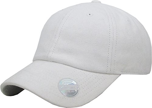 Suede Leather Baseball - KBE-SUE-Classic WHT 6 Panel Suede Dad Hat Baseball Classic Adjustable Soft Plain Cap