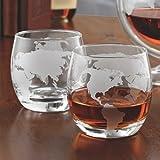 Etched Globe Whiskey Glasses 12 oz -Set of 2