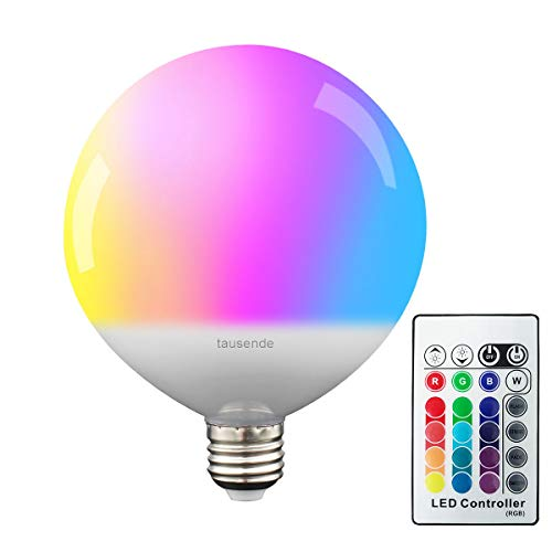 Color Changing LED Light Bulb with Remote Control, TAUSENDE RGB LED Light Bulb Dimmable 10W E26, 15 RGB Color Choices and Daylight RGBW LED Mood Light Bulb for Room Party Decor Effect Lights Bulb