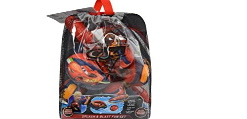 Disney Cars 3 Splash and Blast Fun Set Backpack : Water Blaster, Splash Football, Splash Disc and Splash Ball