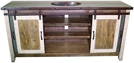 60 Inch Distressed Multi Color Farmhouse Sliding Barn Door Single Sink Bathroom Vanity Fully Assembled With Copper Drop In Sink Installed 60 Inch, Multi