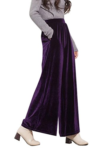ARTFFEL-Women Casual Soft Slim Velvet High Waisted Wide Leg Pants Trousers Purple OS (Velvet Pants Purple)