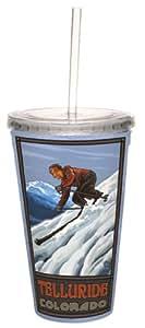 TreeFree saludos 80432Telluride esquí por Paul A. Lanquist Artful Traveler doble pared Cool vaso de acrílico con paja, G, multicolor