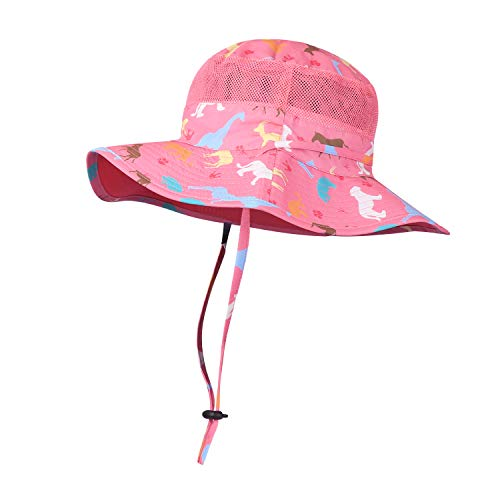 Kids Sun Hat Girls Bucket Hat UPF 50+ Reversible Wide Brim Outdoor Beach Caps Breathable Play Hat with Adjustable Chin Strap Pink ()