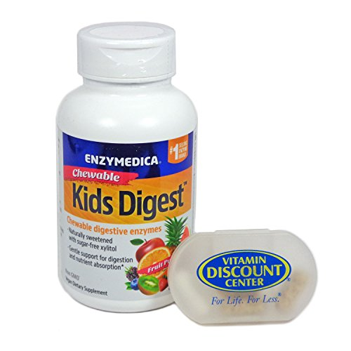 Bundle: 1 Bottle of Kids Digest Chewables by Enzymedica – 90 Chewables and 1 VDC Pill Box For Sale