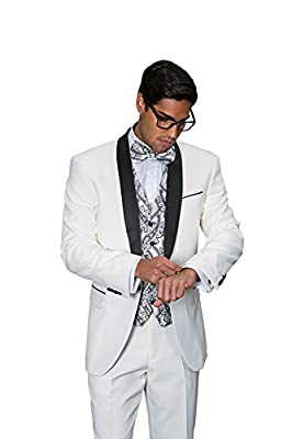 Statement CAPRI OFF WHITE 3PC MEN'S SUIT TUXEDO WITH A VEST AND MATCHING BOW TIE.