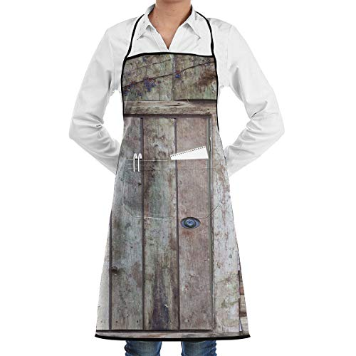 Crafting Dog Grooming Salon Kitchen Apron Visible Center Pocket Waterproof Fashion Apron Boys Girls - Old Rustic Barn Door Cottage Country Cabin Theme Apron With Large Pocket Polyester Apron