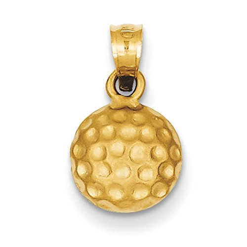14K Yellow Gold Golf Ball Charm Pendant ()