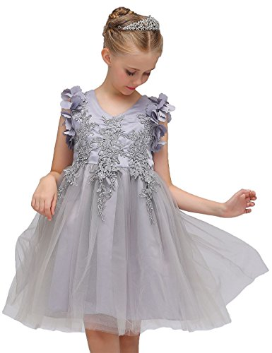Little Sorrel Kids Girls Princess Dress Flower Lace Tulle Dress Birthday Party Wedding Bridesmaid Dance Pageant Dress 3-9 Years: Amazon.co.uk: Clothing