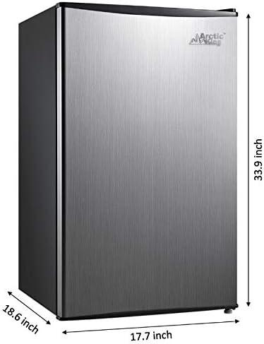 Arctic King 3.3 Cu Ft Single Door Mini Fridge 17.70 x 18.60 x 33.90 Inches, Stainless Steel Look
