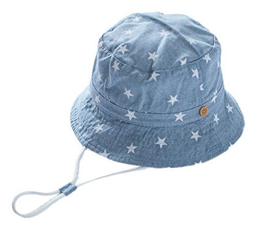 Toyobuy Cotton Cowboy Star Printted Children Sunhat Light Blue Size 54 by Toyobuy