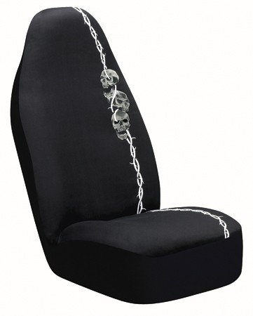 Auto Expressions Barbed Wire Skulls Universal Bucket Seat Cover, Black Black Skull Car Seat Cover