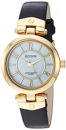 Sutton by Armitron Women's SU/1002MPBK Gold-Tone and Black Leather Strap Watch