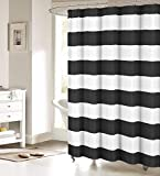 Black White Shower Curtain Fabric Shower Curtain: Nautical Stripe Design (Black and White)