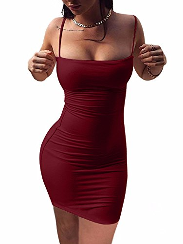 BEAGIMEG Women's Sexy Spaghetti Strap Sleeveless Bodycon Mini Club Dress, Wine Red, Medium ()