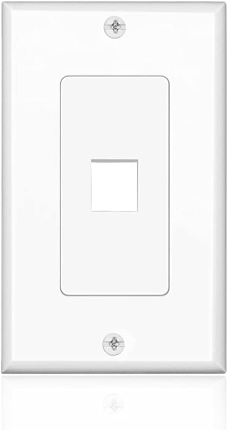 TNP Keystone Wall Plate 12 Port - Keystone Insert Jack Single Gang Wiring Plug Socket Decorative Face Cover Outlet Mount Panel with Screws White 10 Pack
