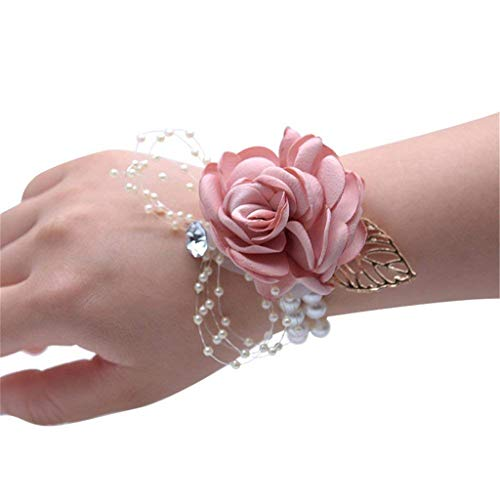 (Flonding Girl Bridesmaid Wrist Corsage Bridal Silk Wrist Flower with Faux Pearl Bead Stretch Bracelet Wristband Gold Leaf for Wedding Prom Hand Flowers Decor (Champagne Pink, Pack of 4))