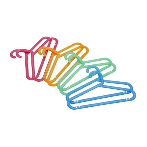 _IKEA 8 piece Children's Clothes Hanger in assorted fun colors Flexible plastic that minimizes the risk of breaking. Pants hanger, skirt hanger and shirt hanger in one.