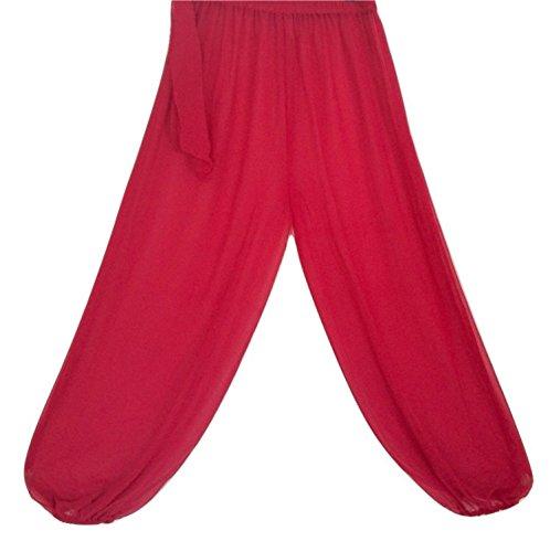 Danza del vientre pantalones de harén para bailar traje de bailarín tribal Yoga Leggings de vestido de lujo M L XL REDY PINK